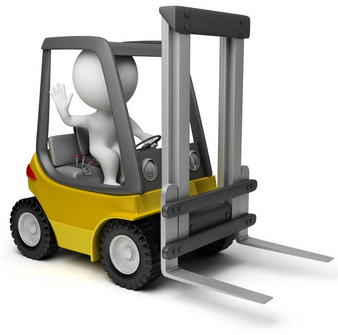 3d man in forklift